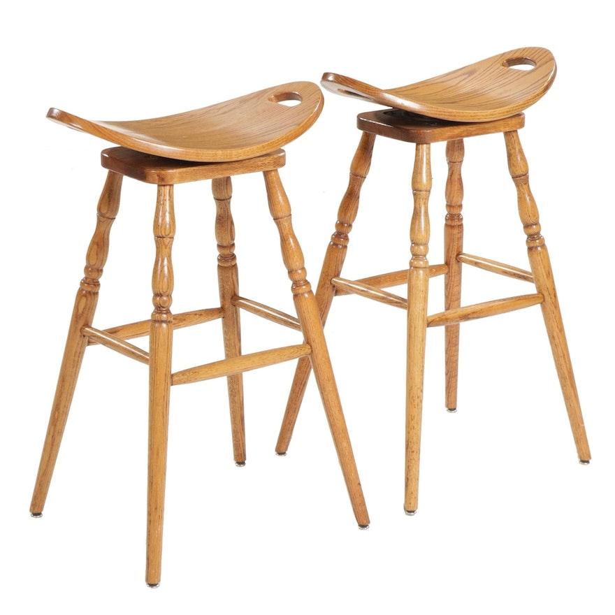 Pair of Oak Saddle Seat Barstools