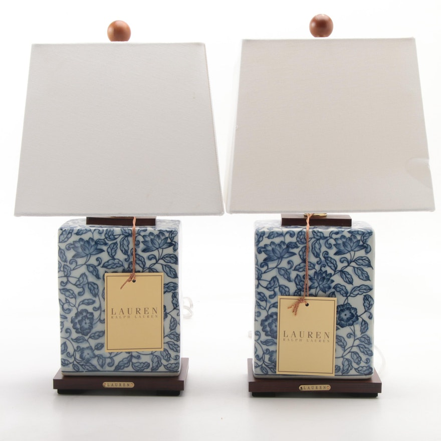 LAUREN Ralph Lauren Blue and White Ceramic Table Lamps