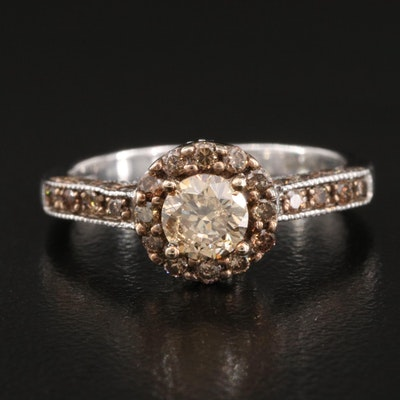 Sterling 1.00 CTW Diamond Halo Ring