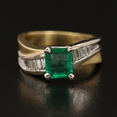 18K Emerald and Diamond Ring with 14K Accent