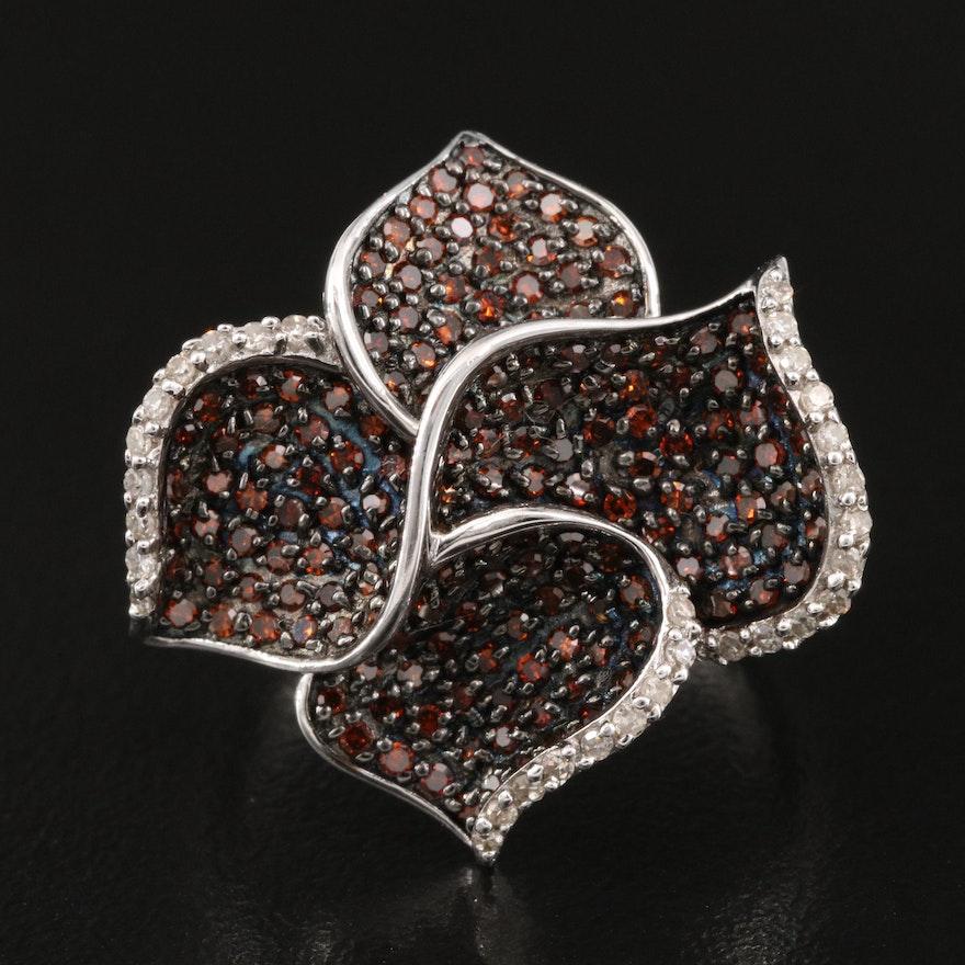 Sterling 1.00 CTW Diamond Foliate Ring