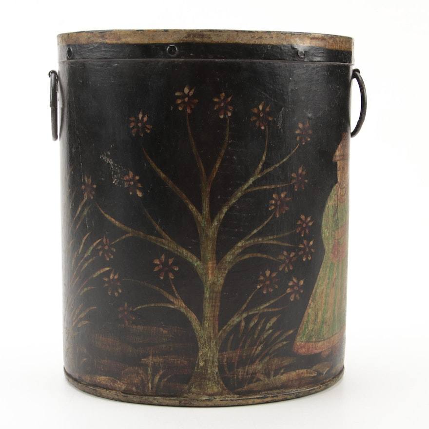 Tole-Peinte, Parcel-Gilt, and Chinoiserie-Decorated Cache Pot, 19th Century