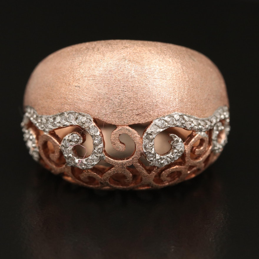 Sterling Cubic Zirconia Openwork Dome Ring