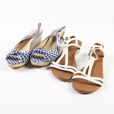 Land's End White Leather Sandals and Gingham Knotted Wedge Espadrilles