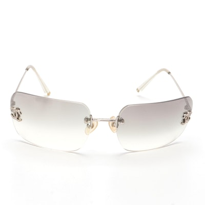 Chanel 4017-D Crystal CC Logo Sunglasses with Case