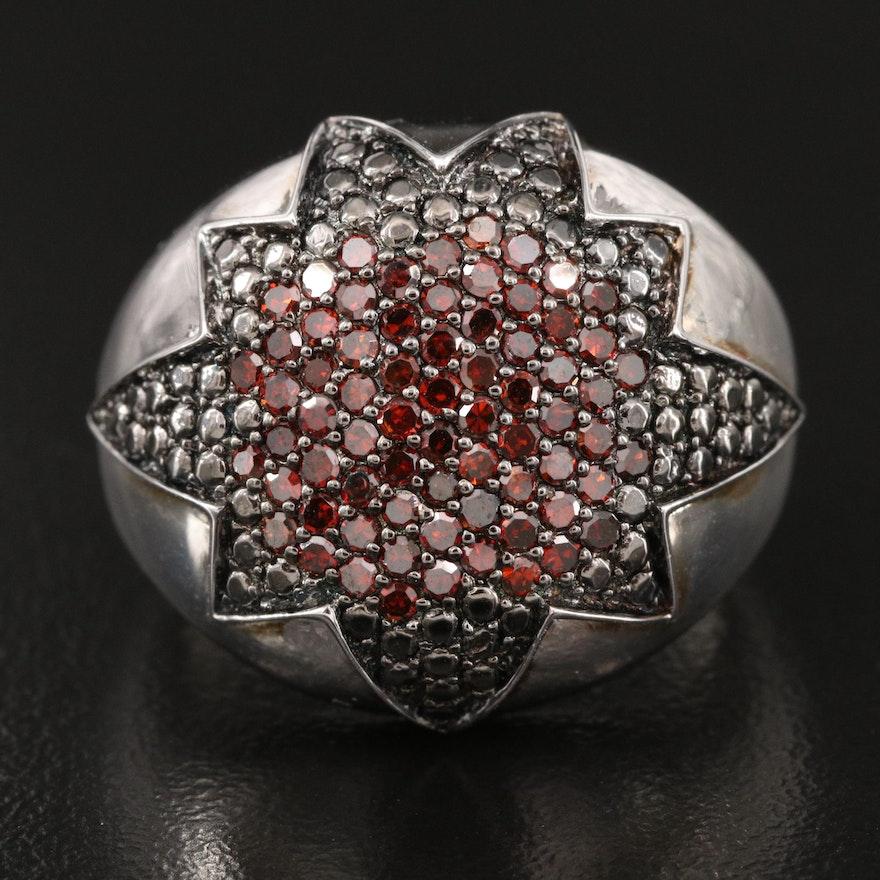 Sterling 1.00 CTW Diamond Pavé Starburst Dome Ring