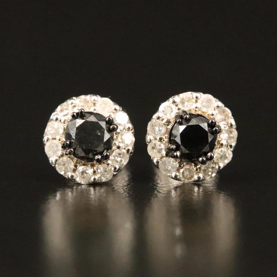 Sterling Diamond Stud Earrings