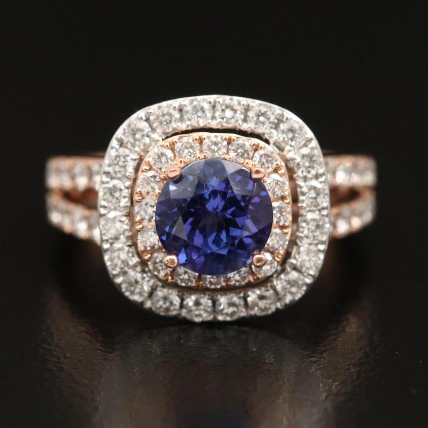 14K Rose Gold Tanzanite and 1.46 CTW Diamond Ring