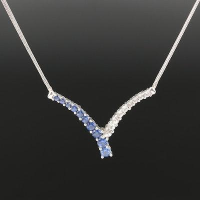 10K Sapphire Chevron Necklace