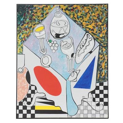 "Eduardo Oliva Acrylic Painting ""Bodegón Con Uva y Pescado,"" 1987"