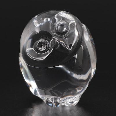 """Steuben Art Glass """"Wisdom"""" Owl Hand Cooler"""