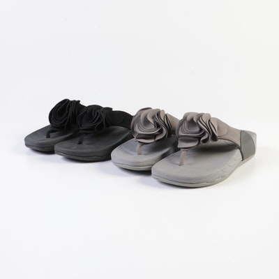 Lands' End Ruffle Thongs in Black and Iron Gray