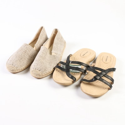 Lands' End Espadrille Flats in Cypress Brown and Terrain Slides in Black