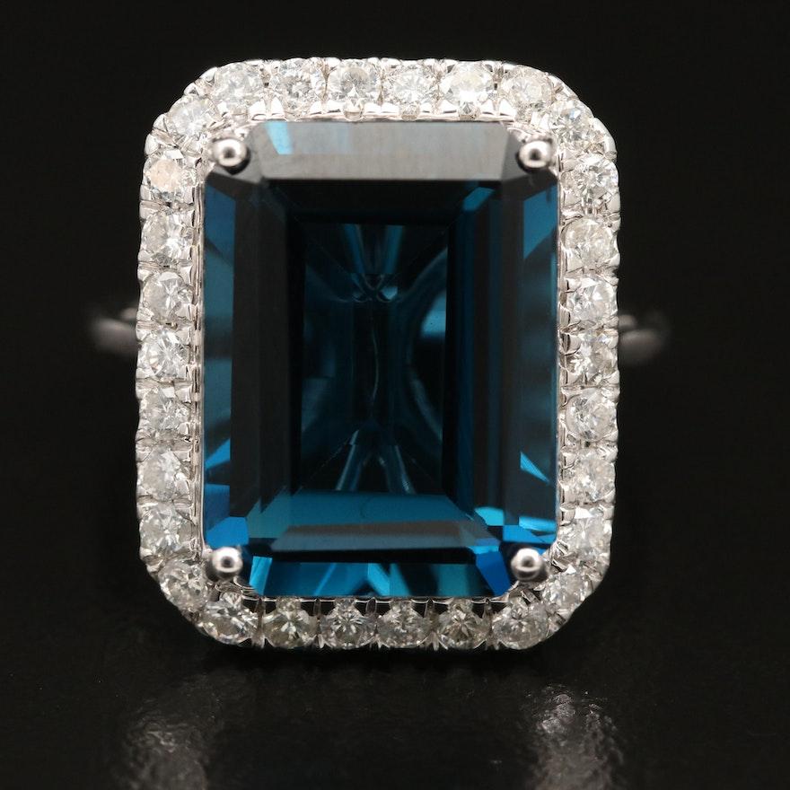 14K 12.57 CT London Blue Topaz and Diamond Ring