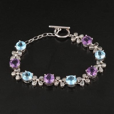 Sterling Swiss Blue Topaz and Amethyst Flower Bracelet