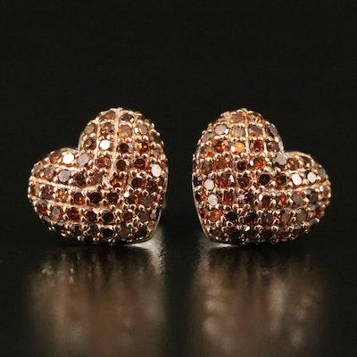 Sterling Diamond Pavé Heart Stud Earrings
