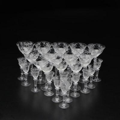 Needled Etched Glass Stemware Dessert Glasses, Mid-20th Century