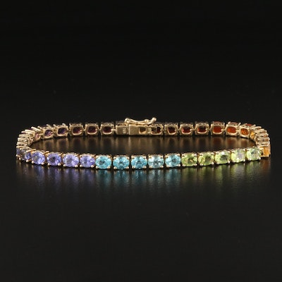 Sterling Rainbow Line Bracelet with Citrine, Fire Opal and Garnet