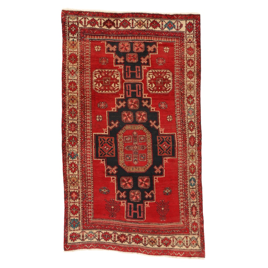 4'6 x 7'8 Hand-Knotted Northwest Persian Rug, 1960s