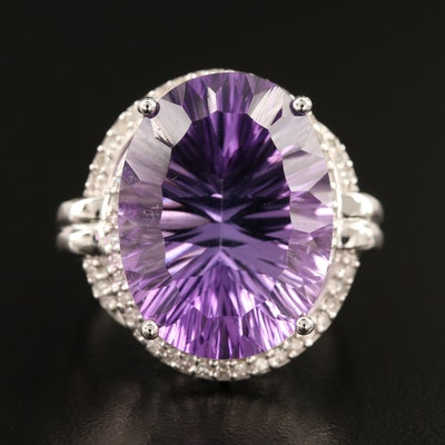14K 18.43 CT Amethyst and Diamond Ring