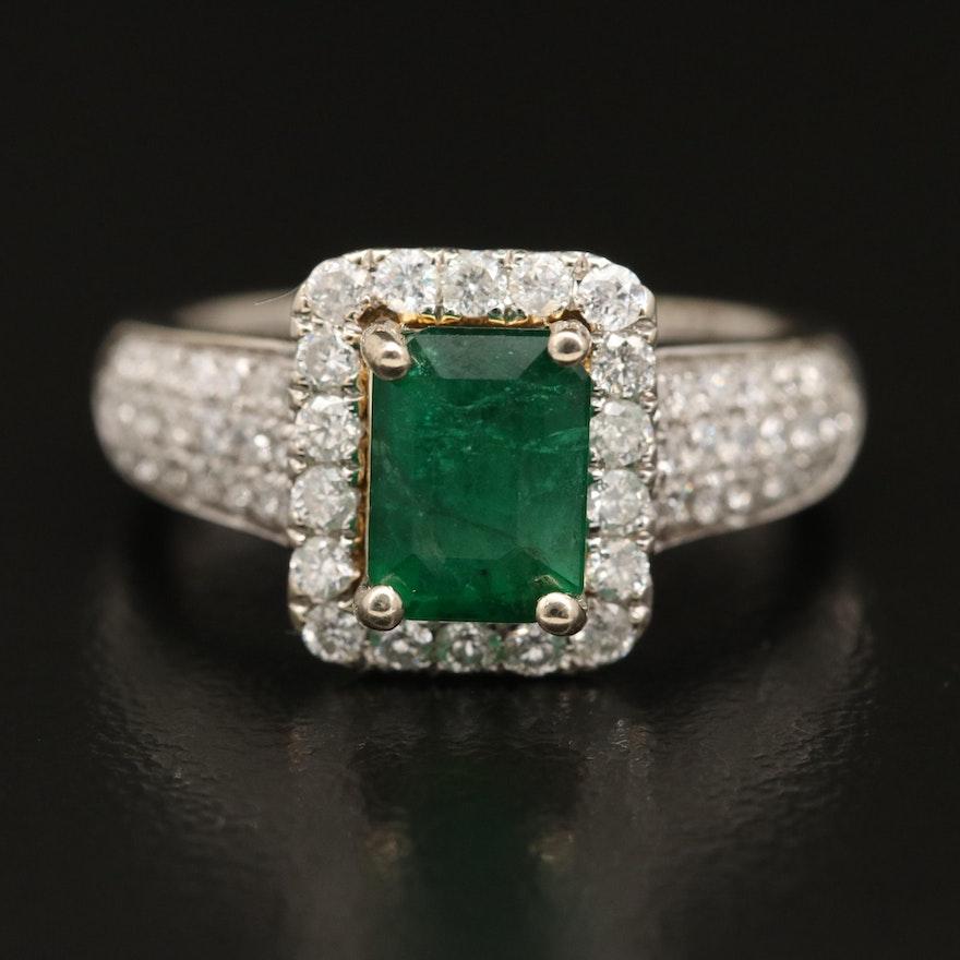 14K 1.65 CT Emerald and Diamond Ring
