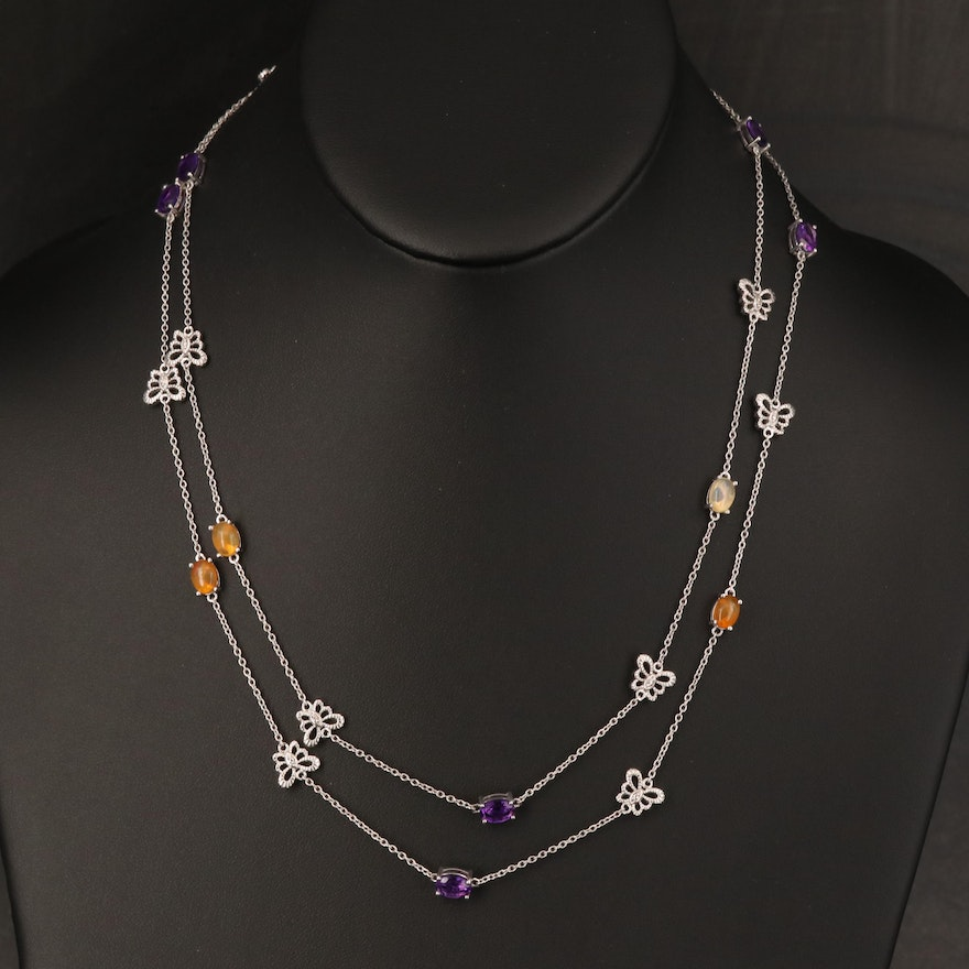 Sterling Opal, Amethyst and Diamond Station Necklace with Butterfly Accents