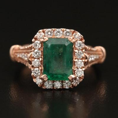 14K 2.45 CT Emerald and 1.00 CTW Diamond Ring