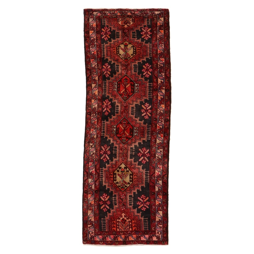 3'10 x 10'9 Hand-Knotted Persian Heriz Long Rug, 1950s