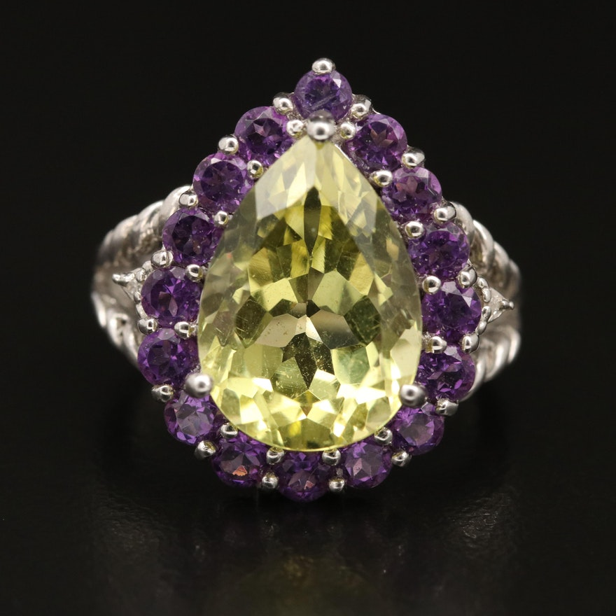 Sterling Silver Citrine Amethyst and Diamond Ring