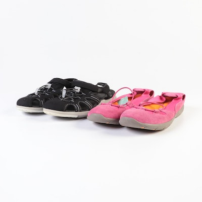Lands' End Bungee Ballet Flats in Laurel Blossom and Water Sandals in Black