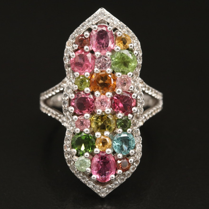 Sterling Silver Tourmaline and Topaz Arabesque Ring