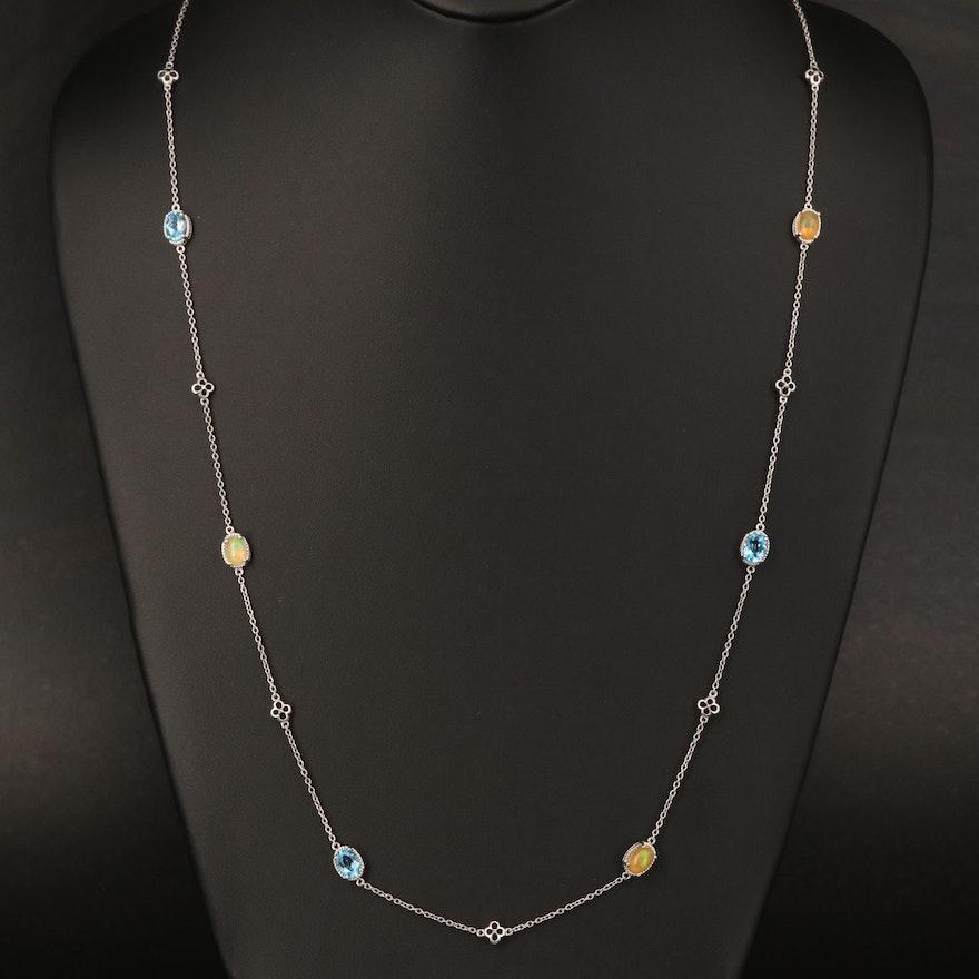 Sterling Opal, Topaz and Diamond Station Necklace