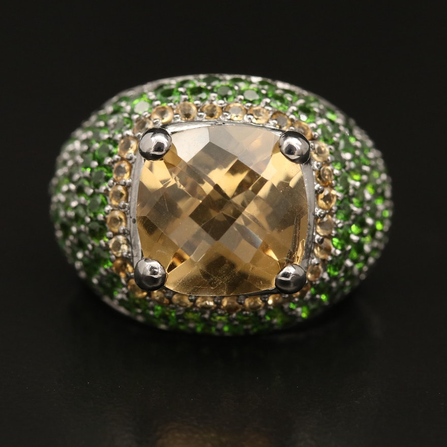 Sterling Silver Citrine and Pavé Diopside Bombé Ring