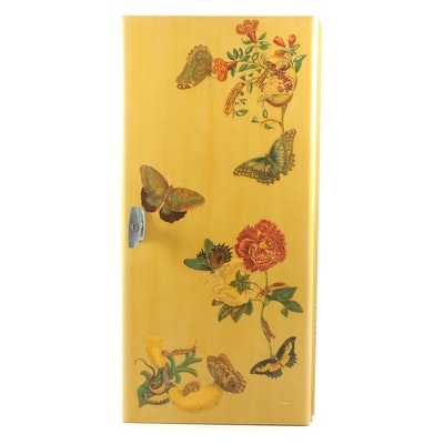 Custom Butterfly Decoupage after Maria Sibylla Merian Jewelry Cabinet