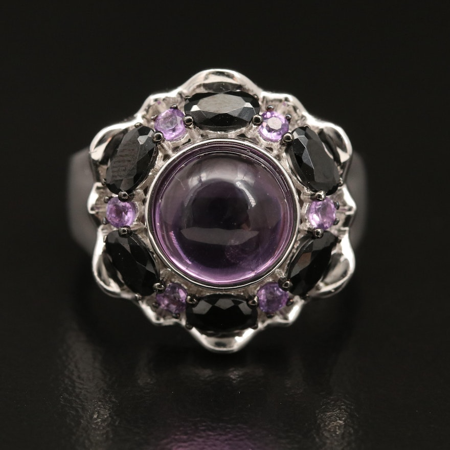 Sterling Silver Amethyst and Spinel Ring