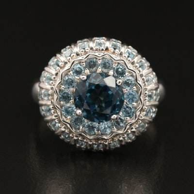"""Sterling Silver """"London"""" and """"Sky Blue"""" Topaz Ring"""