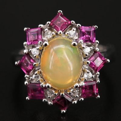 Sterling Opal, Garnet and Gemstone Ring