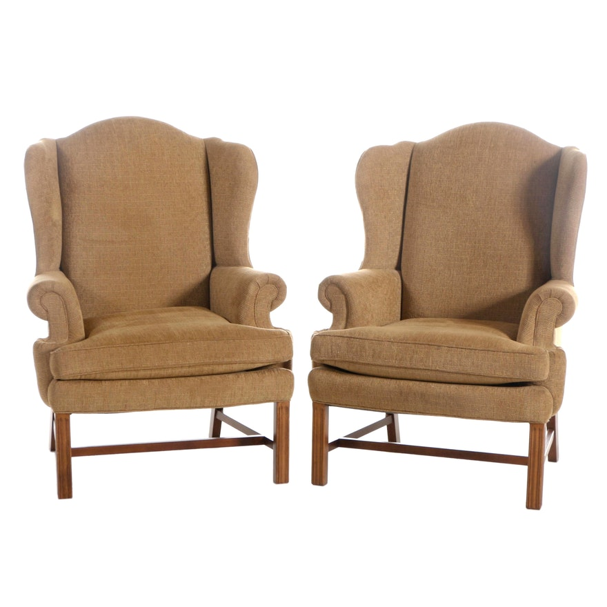 Pair of Sherrill Chippendale Style Wingback Armchairs