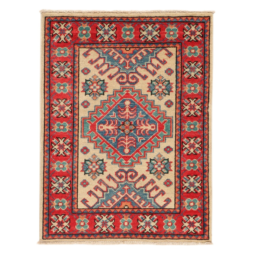 2'2 x 2'11 Hand-Knotted Afghan Caucasian Kazak Rug, 2010s