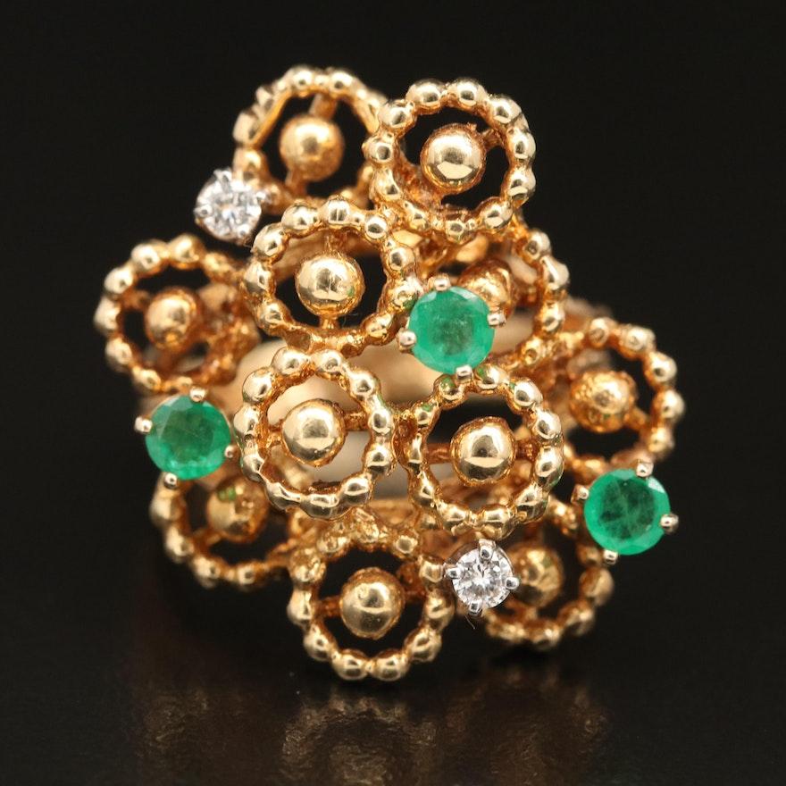 14K Emerald and Diamond Biomorphic Ring