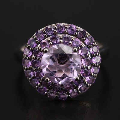 Sterling Amethyst Ring with Hidden Diamond Accent