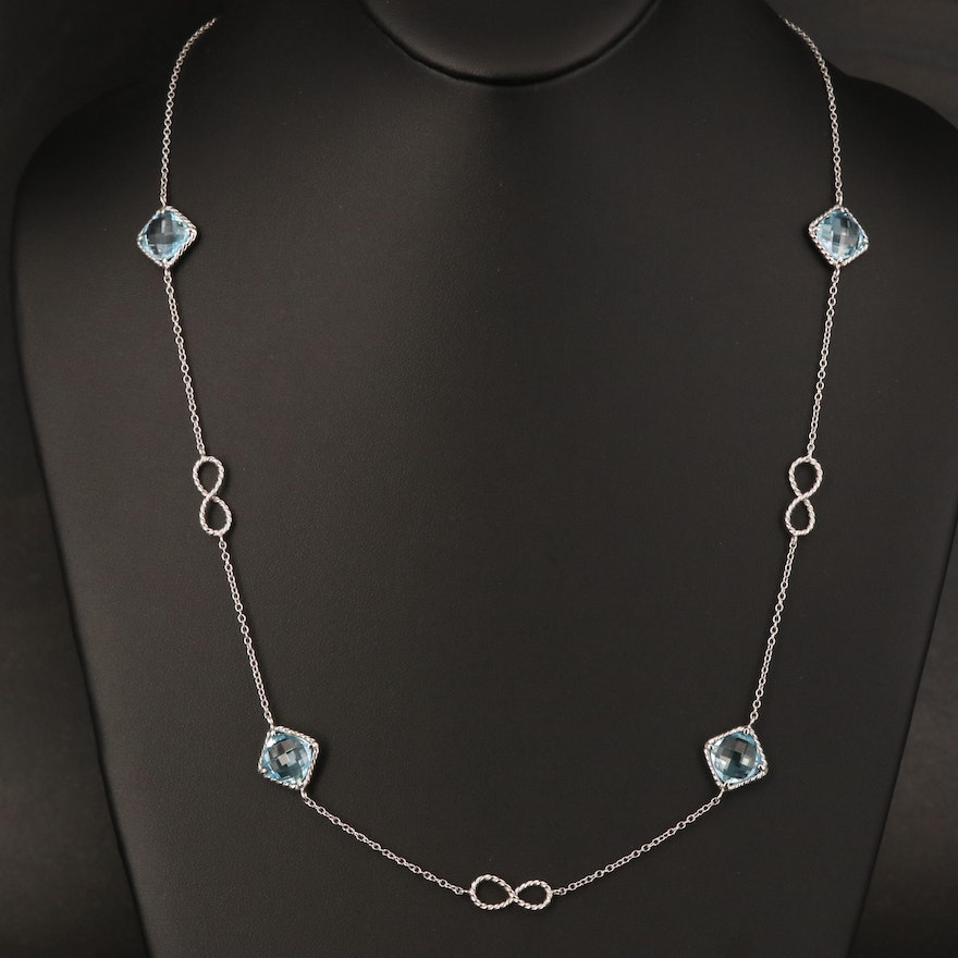Sterling Topaz and Infinity Station Necklace