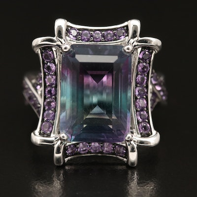 Sterling Silver Fluorite Ring with Amethyst Accents