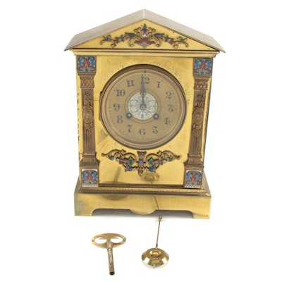 French Champlevé Brass Mantel Clock, Late 19th to Early 20th Century