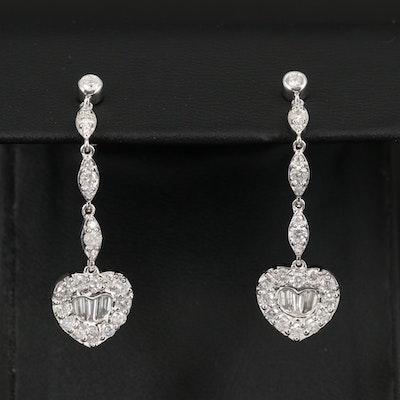 14K 2.13 CTW Diamond Heart Drop Earrings