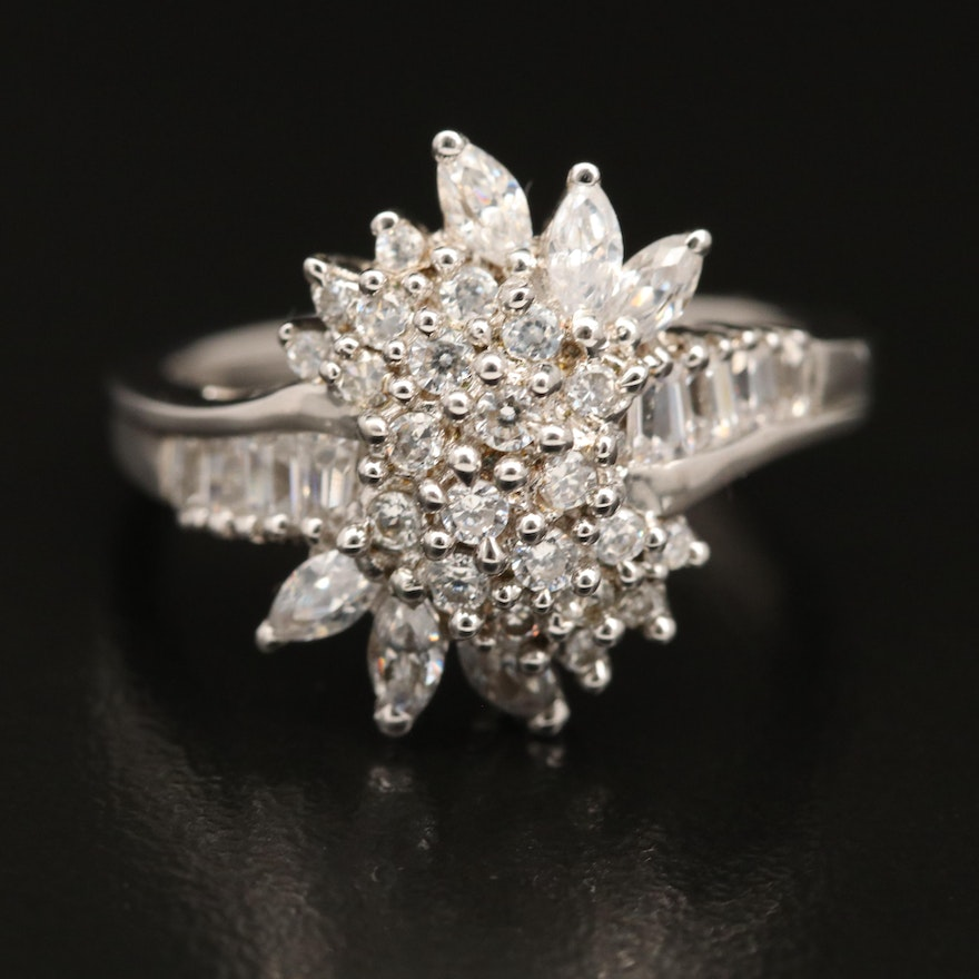 Sterling Silver Cluster Ring with Cubic Zirconia