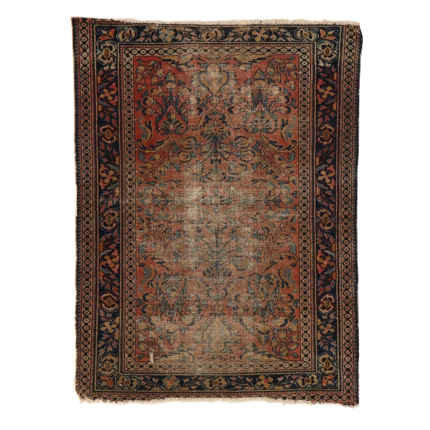 3'7 x 4'9 Hand-Knotted Persian Lilihan Rug, 1920s