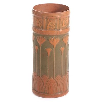 American Pottery Egyptian Revival Ceramic Umbrella Stand