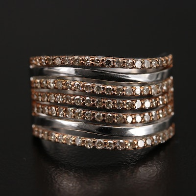 Sterling Silver Diamond Ring with Wavy Design