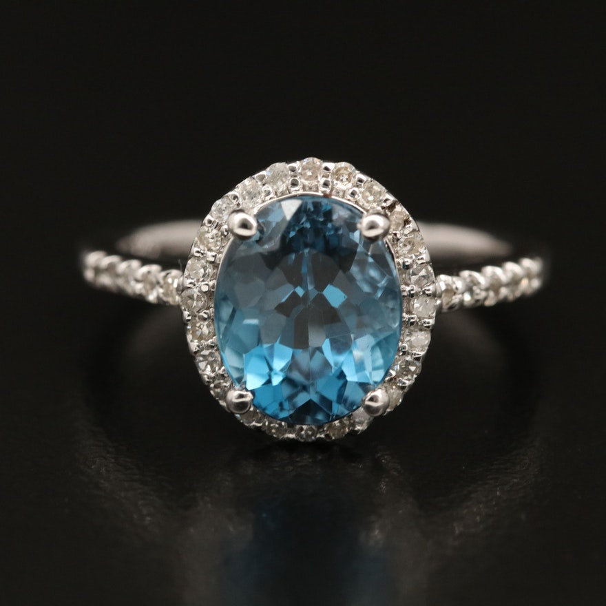 London Blue Topaz Ring with Diamond Halo in Sterling Silver